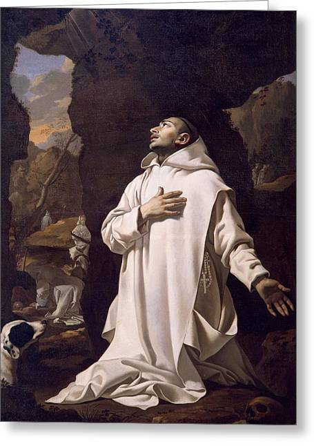 Hydration Greeting Cards - St Bruno praying in desert Greeting Card by Nicolas Mignard