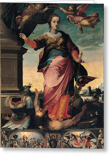 Brown Toned Art Greeting Cards - St Catherine Of Alexandria, 1570 - 1611 Greeting Card by Il Sozzo