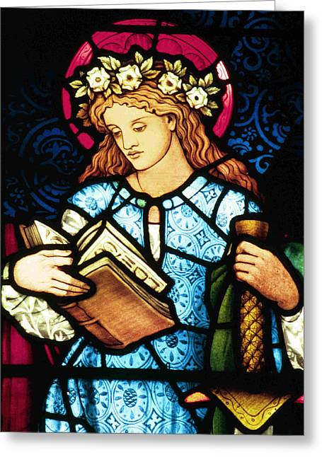 Catholic Glass Greeting Cards - St Catherine of Alexandria in Stained Glass Greeting Card by Philip Ralley