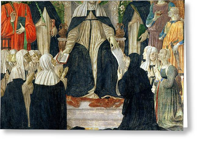 Book Of Martyrs Greeting Cards - St. Catherine Of Siena As The Spiritual Mother Of The 2nd And 3rd Orders Of St. Dominic Greeting Card by Cosimo Rosselli