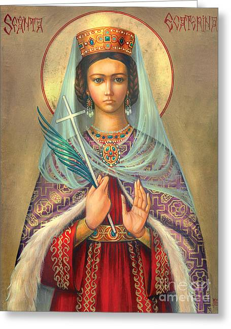 Ancient Earrings Greeting Cards - St. Catherine Greeting Card by Zorina Baldescu