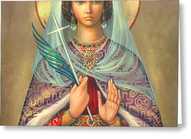 St. Catherine Greeting Card by Zorina Baldescu