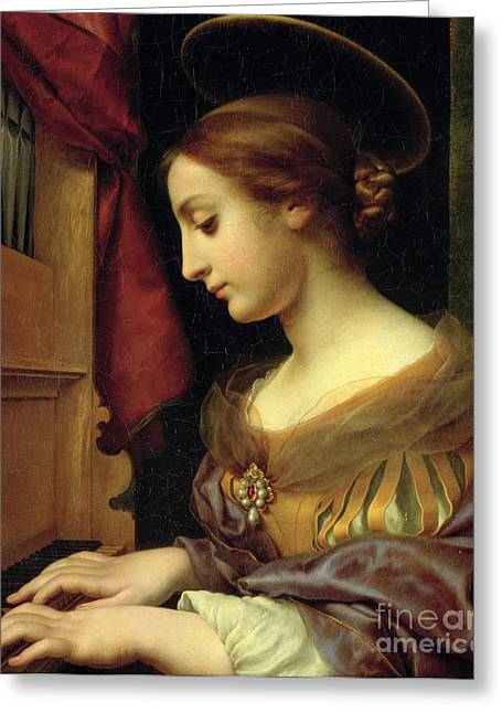 St. Cecilia Greeting Card by Carlo Dolci