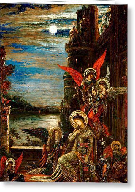 Gustave Moreau Greeting Cards - St Cecilia The Angels Announcing her Coming Martyrdom Greeting Card by Gustave Moreau