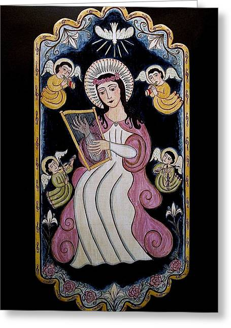 Patron Of Musicians Greeting Cards - St. Cecilia with Harp and Angels Greeting Card by Ellen Chavez de Leitner