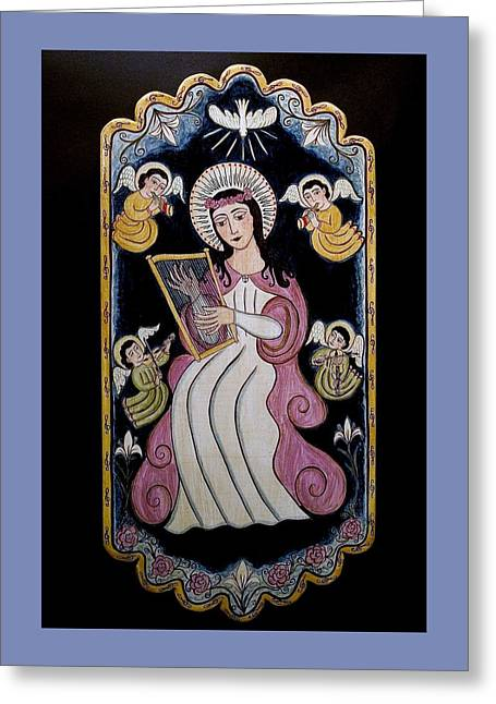 St. Cecilia With Harp And Angels Greeting Card by Ellen Chavez de Leitner