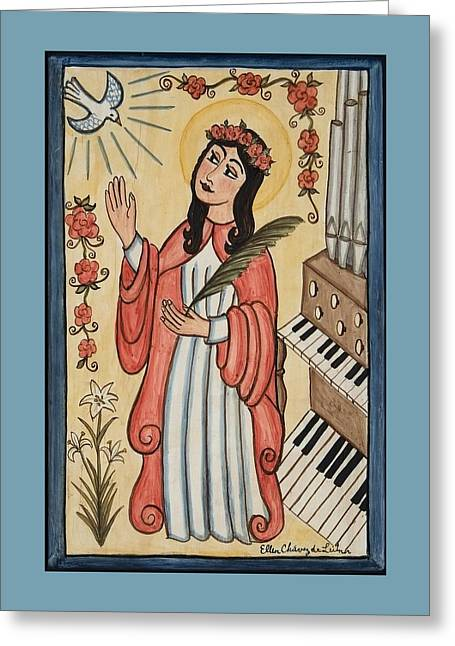 Retablos Greeting Cards - St. Cecilia with organ and dove Greeting Card by Ellen Chavez de Leitner