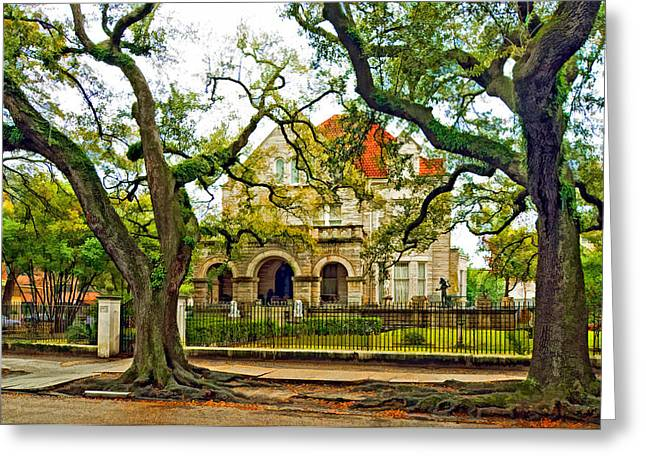 St. Charles Ave. Mansion Paint Greeting Card by Steve Harrington