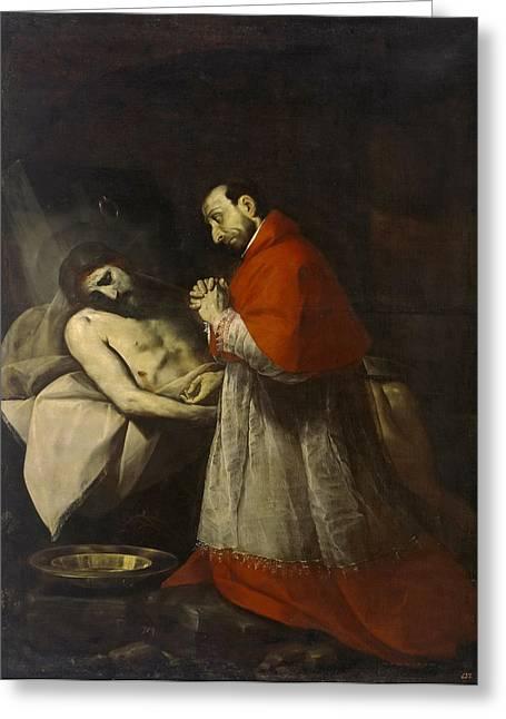 Borromeo Greeting Cards - St. Charles Borromeo before dead Christ Greeting Card by Giovanni Battista Crespi