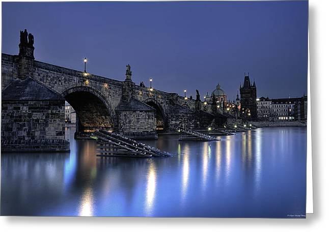 St Charles Bridge Greeting Card by Ryan Wyckoff