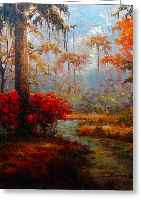 Print Greeting Cards - St Charles Stream - Louisiana swamp delta landscape painting Greeting Card by Kanayo Ede