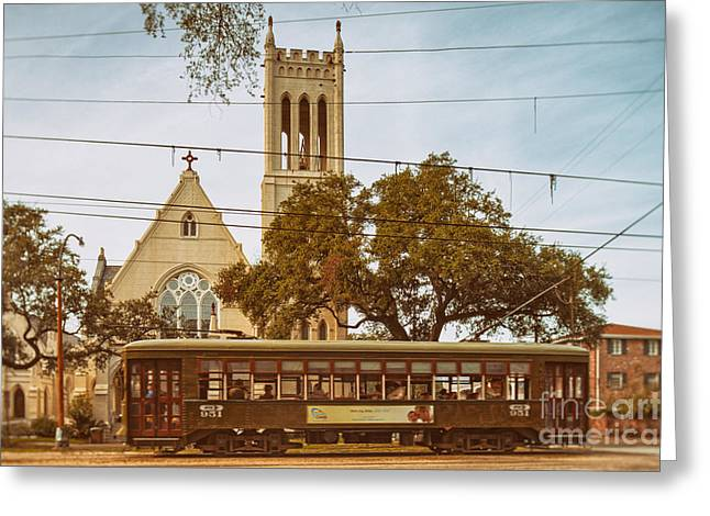 Mardis Greeting Cards - St. Charles Streetcar driving by Christ Church Cathedral in New Orleans Garden District - Louisiana Greeting Card by Silvio Ligutti