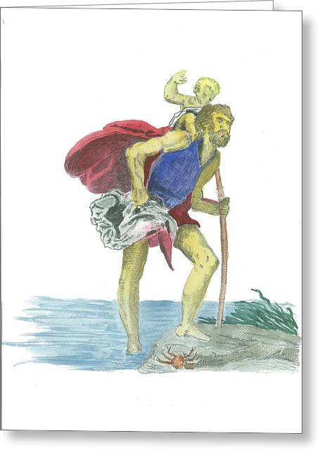 Saint Christopher Paintings Greeting Cards - St. Christopher 1 Greeting Card by Marko Jezernik