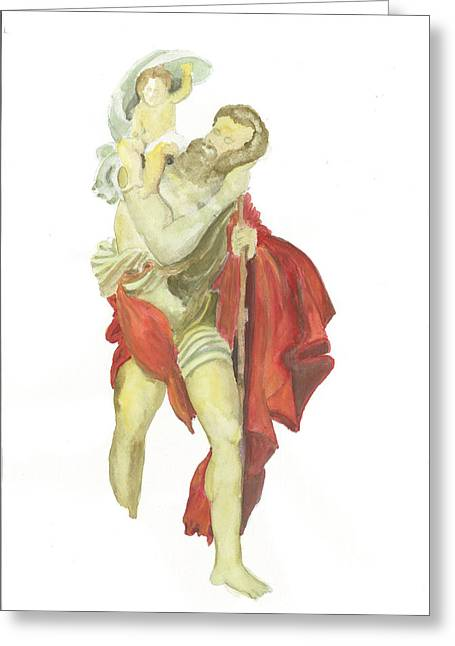 Saint Christopher Paintings Greeting Cards - St. Christopher 2  Greeting Card by Marko Jezernik