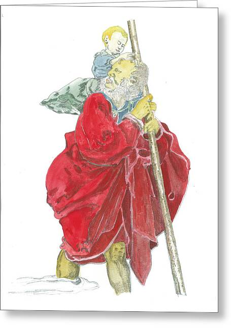 Saint Christopher Paintings Greeting Cards - St. Christopher 5 Greeting Card by Marko Jezernik