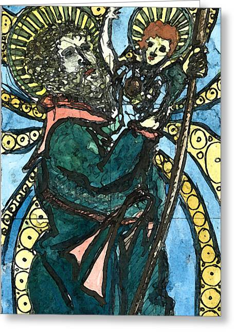 St Piran Greeting Cards - St. Christopher 8 Greeting Card by Marko Jezernik