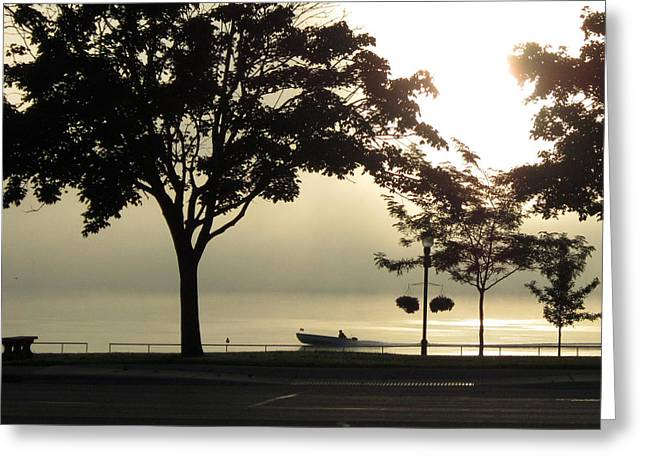 St. Clair Sunrise With Fog Greeting Card by Mary Bedy
