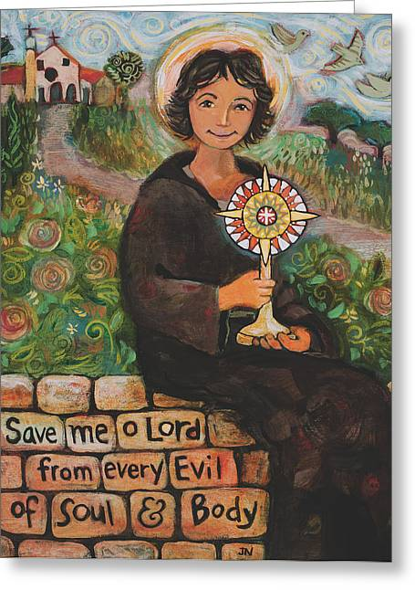 Clare Greeting Cards - St. Clare of Assisi Greeting Card by Jen Norton