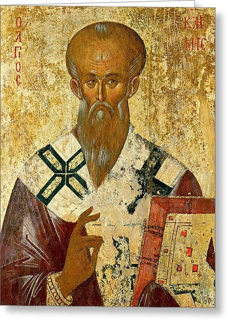 Byzantine Greeting Cards - St. Clement Greeting Card by Byzantine School