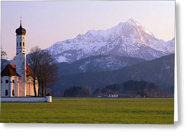 Snowy Evening Greeting Cards - St Coloman Church And Alps Schwangau Greeting Card by Panoramic Images