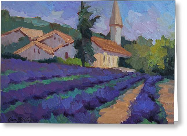 French Countryside Greeting Cards - St. Columne Lavender Field Greeting Card by Diane McClary