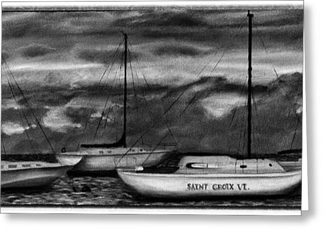 Sailboat Art Greeting Cards - St Croix Sailboats at sunset black and white Greeting Card by Iris Richardson