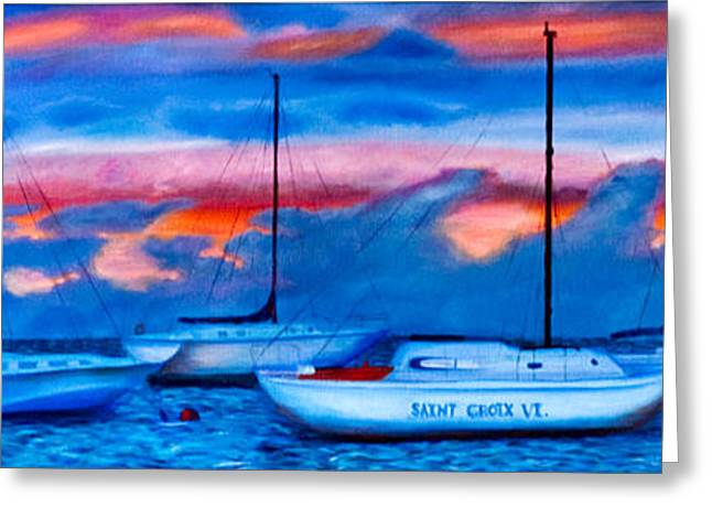 Blue Sailboats Greeting Cards - St Croix Sailboats at sunset painted in oil Greeting Card by Iris Richardson
