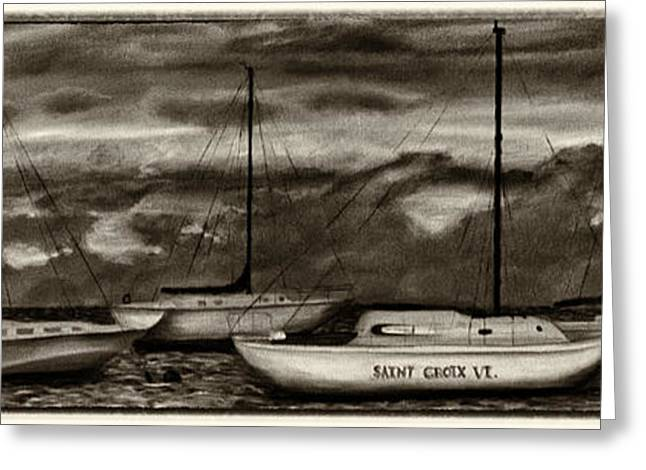 Sailboat Art Greeting Cards - St Croix Sailboats at sunset sepia Greeting Card by Iris Richardson