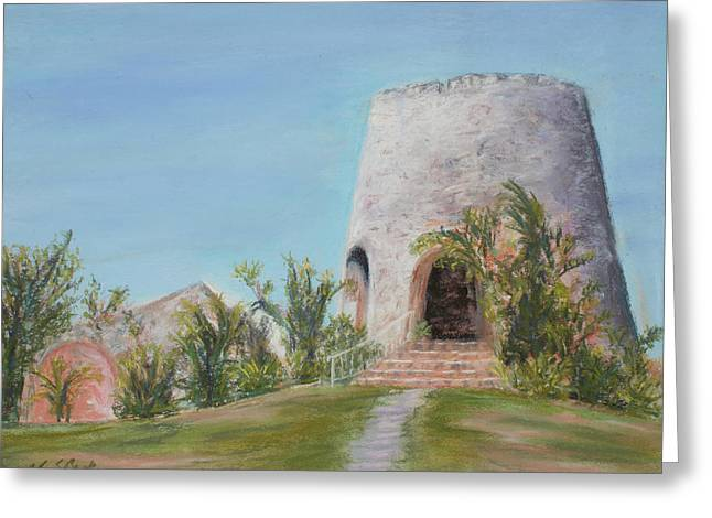 Historic Architecture Pastels Greeting Cards - St. Croix Sugar Mill Greeting Card by Mary Benke