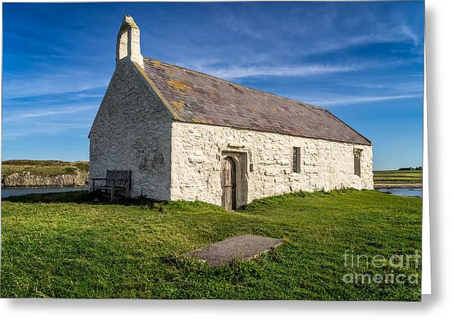 Grave Stone Greeting Cards - St Cwyfan Church Greeting Card by Adrian Evans