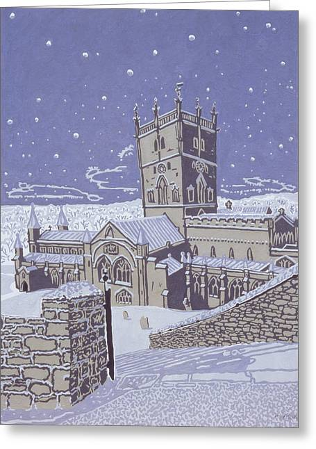 Snowy Night Greeting Cards - St David s Cathedral in the Snow Greeting Card by Huw S Parsons