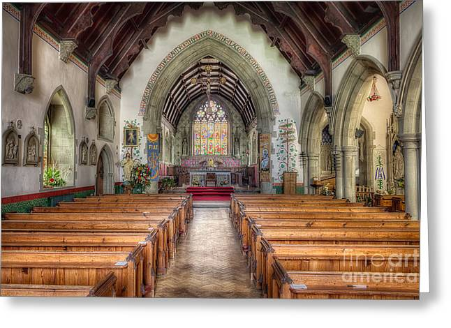 Vaulted Ceilings Greeting Cards - St Davids Church Greeting Card by Adrian Evans