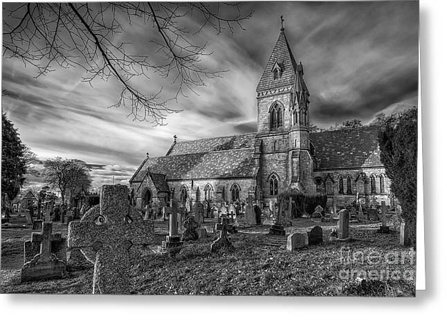 Gravestones Greeting Cards - St Davids Pantasaph Greeting Card by Adrian Evans