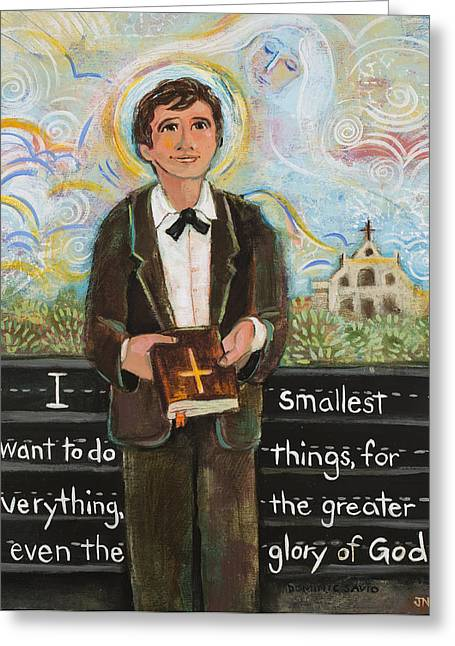 Gift For Greeting Cards - St Dominic Savio Greeting Card by Jen Norton