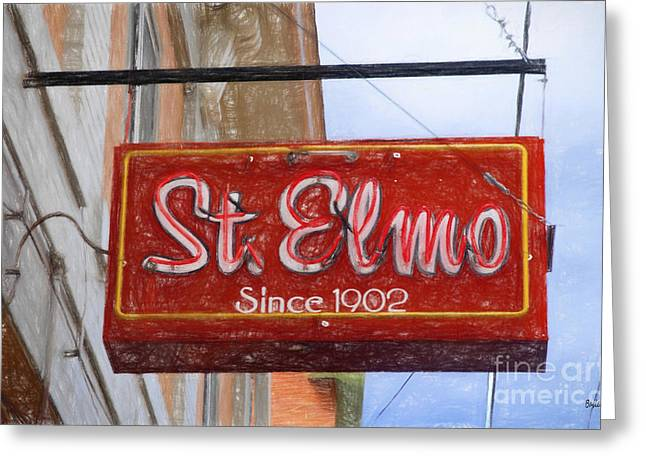 Small Towns Drawings Greeting Cards - St. Elmos Greeting Card by Steve Bailey
