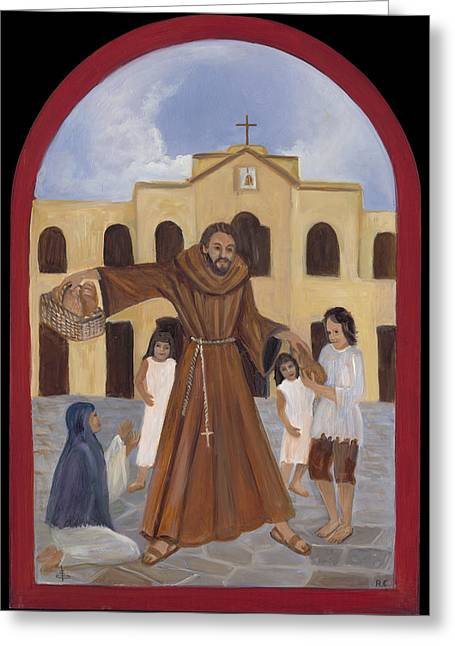 Retablos Greeting Cards - St. Felix Greeting Card by Angie Casias