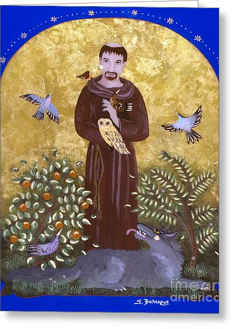 Reverse Art Greeting Cards - St. Francis and the Wolf Greeting Card by Sue Betanzos