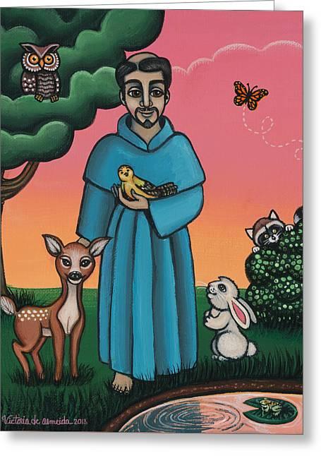 St. Francis Animal Saint Greeting Card by Victoria De Almeida