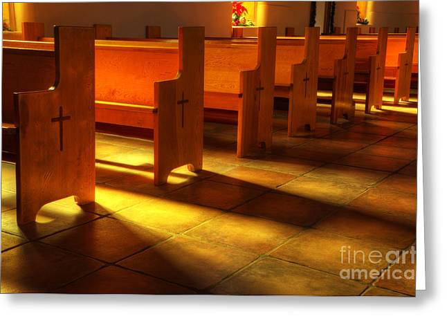 St Francis de Paula Shadow and Light Greeting Card by Bob Christopher