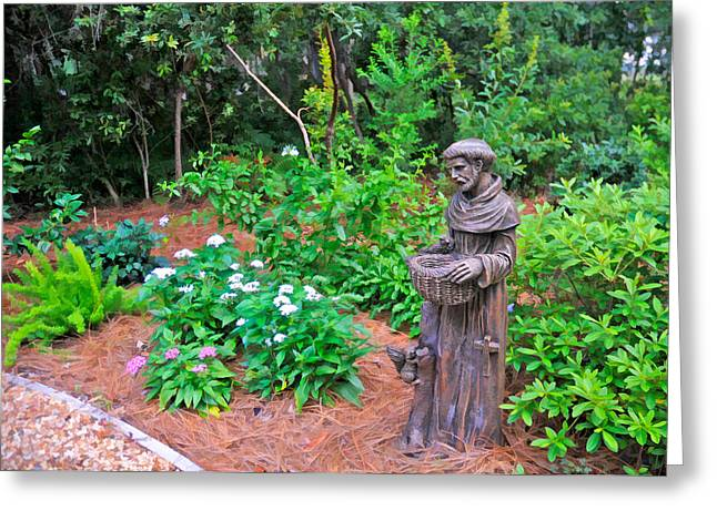 Patron Saint Of Animals Greeting Cards - St. Francis Garden Statute Greeting Card by Ginger Wakem