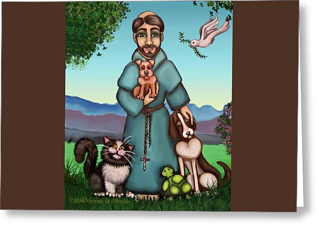 St. Francis Libertys Blessing Greeting Card by Victoria De Almeida