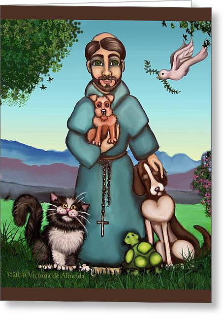 Dog Artists Greeting Cards - St. Francis Libertys Blessing Greeting Card by Victoria De Almeida