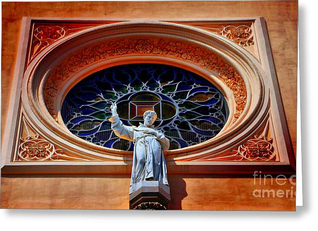 Catherine Window Greeting Cards - St. Francis Of  Assisi Greeting Card by Alicja Magdalena Zbikowska