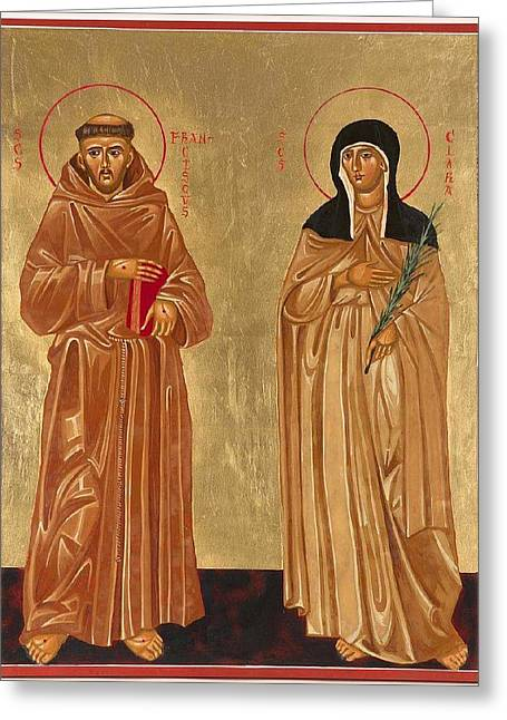 St. Francis Of Assisi And St. Clare Greeting Card by Joseph Malham