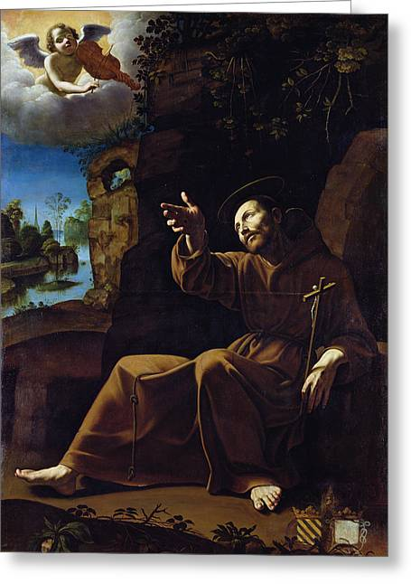 Franciscans Greeting Cards - St. Francis Of Assisi Consoled By An Angel Musician Oil On Canvas Greeting Card by Italian School