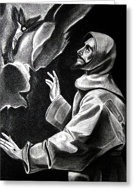 Patron Saint Of Animals Greeting Cards - St Francis of Assisi Greeting Card by Enrique Garcia