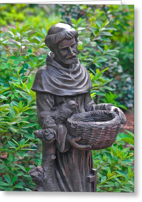 Patron Saint Of Animals Greeting Cards - St Francis of Assisi Garden Statute Greeting Card by Ginger Wakem