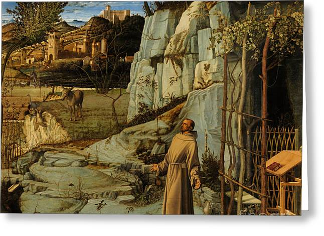 Religious Greeting Cards - St Francis of Assisi in the Desert Greeting Card by Giovanni Bellini