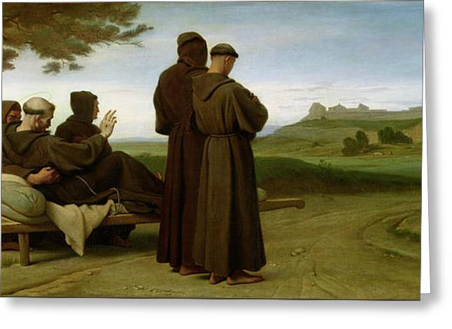 Saint Francis Of Assisi, While Being Carried To His Final Resting Place At Saint-marie-des-anges Greeting Card by Francois Leon Benouville