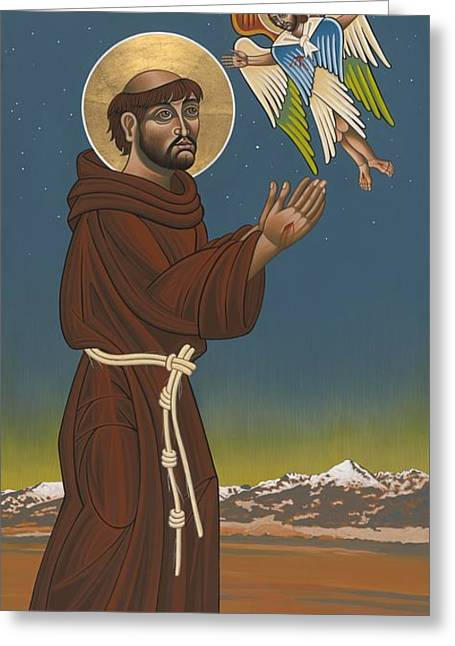 Harts Paintings Greeting Cards - St. Francis Patron of Colorado Greeting Card by William Hart McNichols